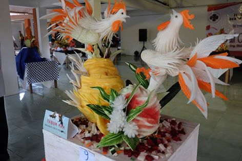 1st position fruit carving competition at Bali Collection